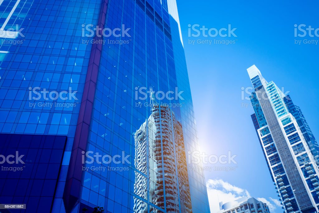 Glass wall of Sydney city modern building stock photo