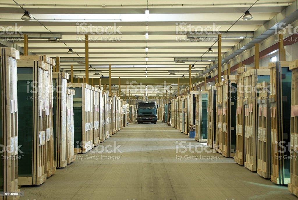 Glass warehouse stock photo