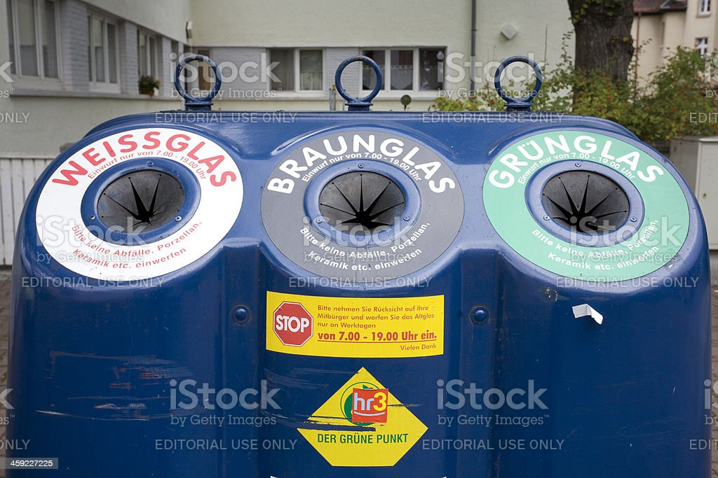 Glass waste collection point, Altglascontainer, Frankfurt stock photo