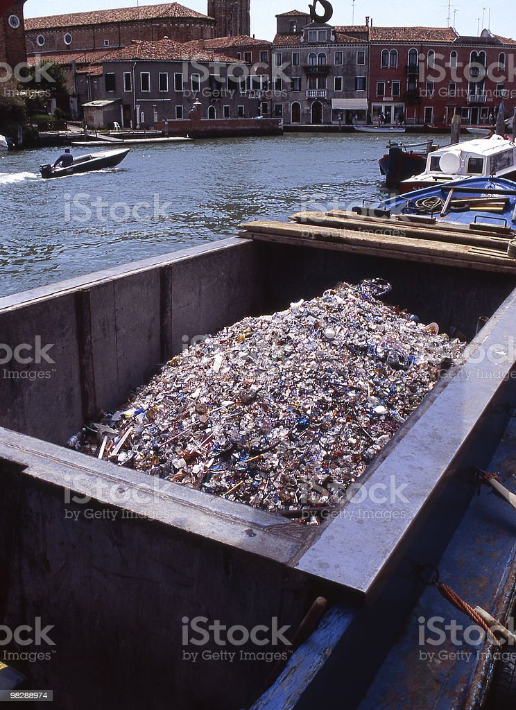 Glass waste from factory in Murano, Venice, Italy royalty-free stock photo