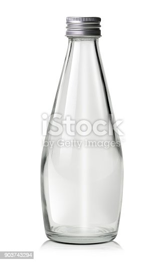 Empty glass water or milk bottle isolated on white background with clipping path