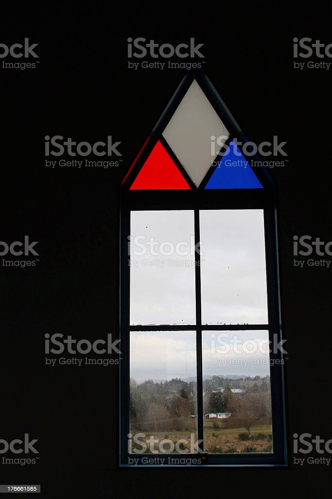 Glass Window in a Very Old Church royalty-free stock photo