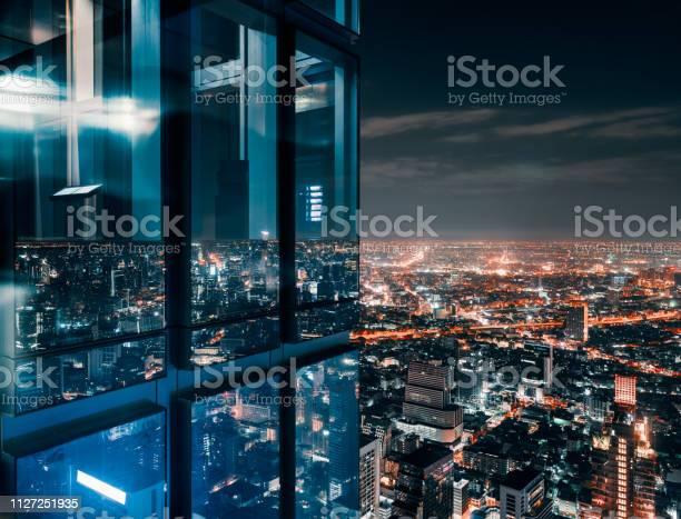 Glass Window With Glowing Crowded City - Fotografias de stock e mais imagens de Acima