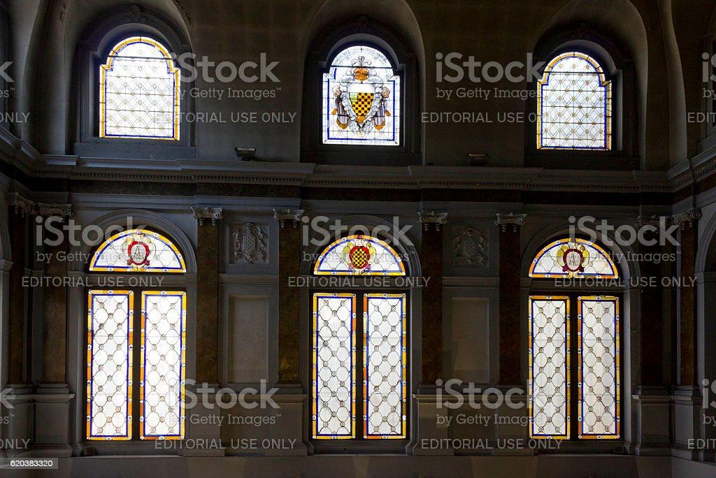 Glass windows of Palazzo Litta stock photo