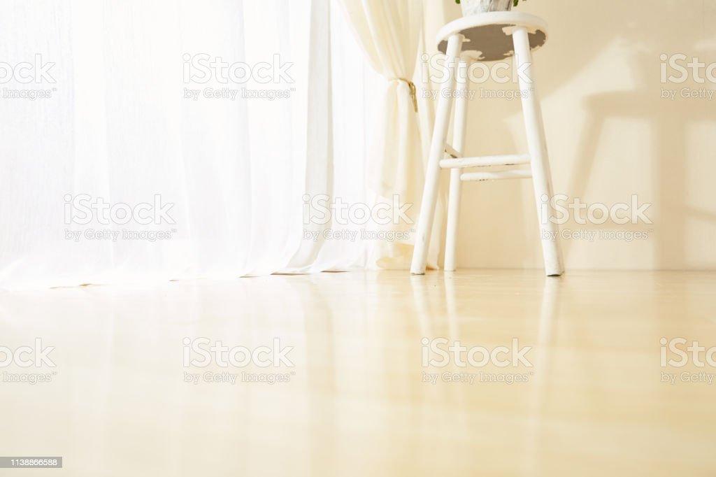 Glass windows with white curtains, morning sun light window