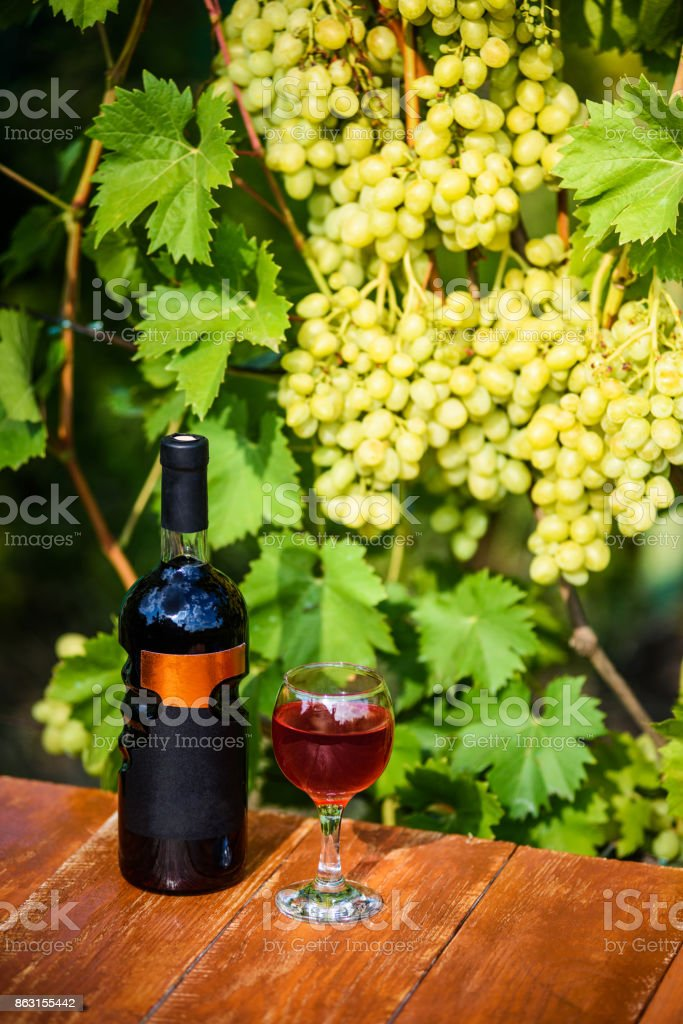 A glass with a red wine and the wine bottle with label standing on the wooden surface with the vineyards in the background. stock photo