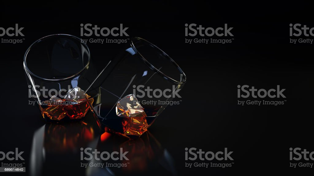 Glass with alcoholic drink. 3D Rendering stock photo