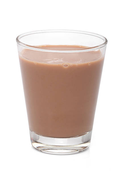 Glass with chocolate milk, over white,  clipping path stock photo