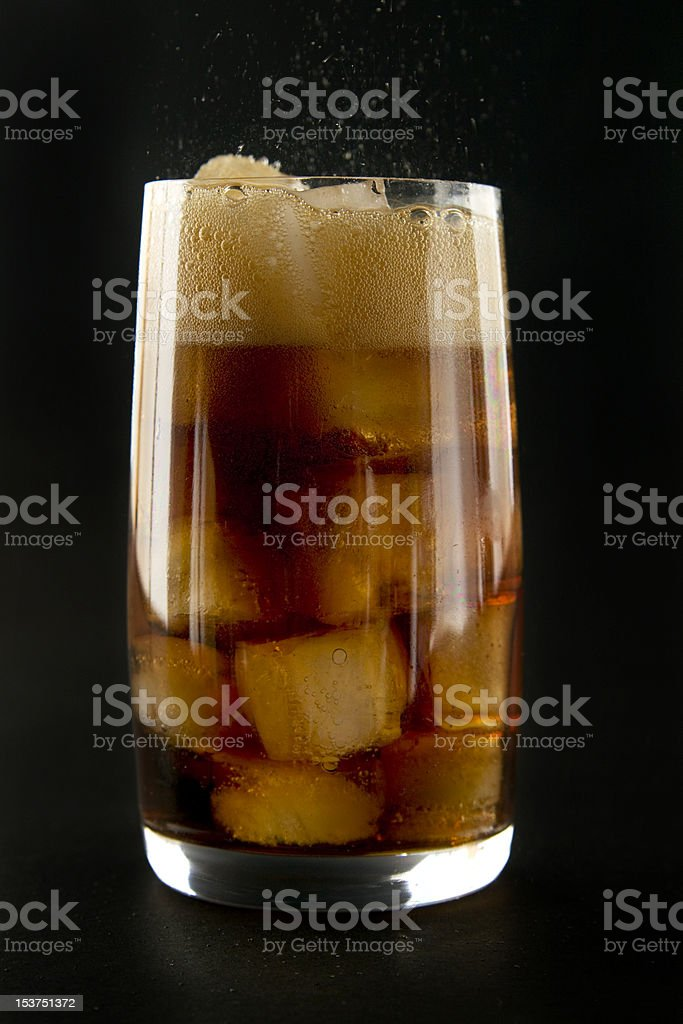Glass with cola and ice. royalty-free stock photo