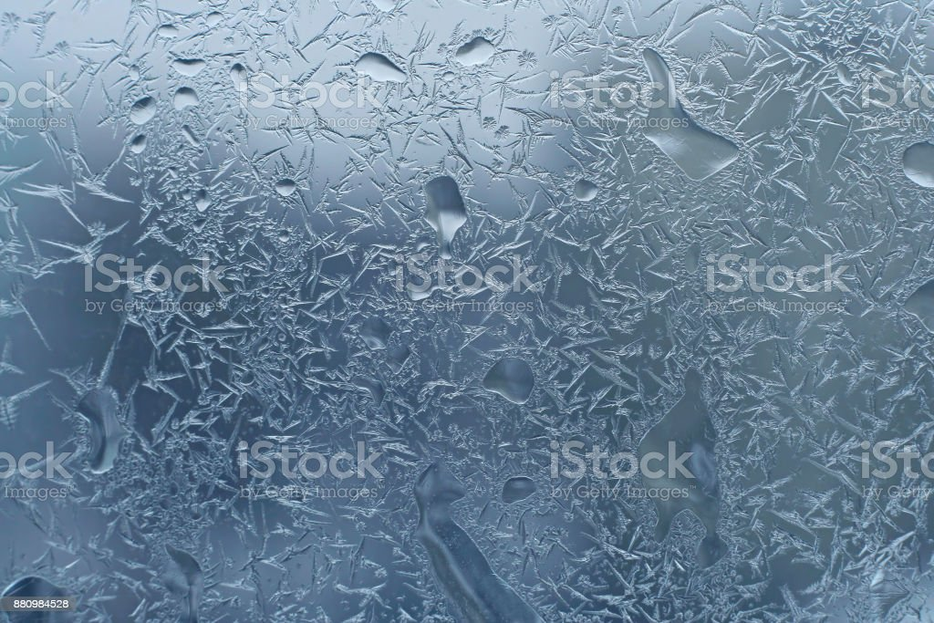 glass with frost and water drops stock photo