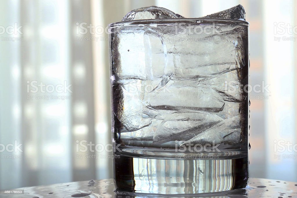Glass with ice and water and/ or vodka royalty-free stock photo