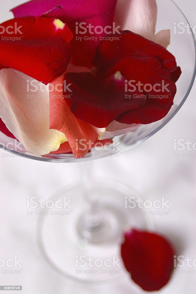 Glass with Petals royalty-free stock photo