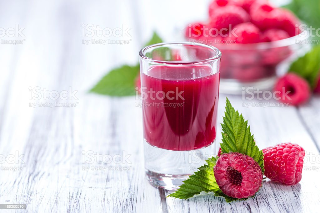 Glass with Raspberry Liqueur stock photo