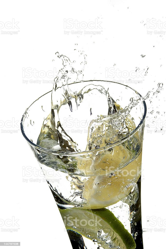 glass with water and lemon royalty-free stock photo