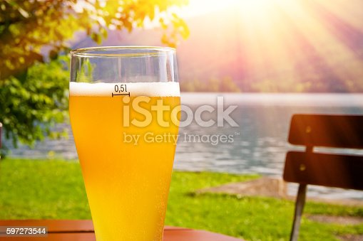 Glass With Wheat Beer On Bavaria In The Sun Stock Photo & More Pictures of Alcohol