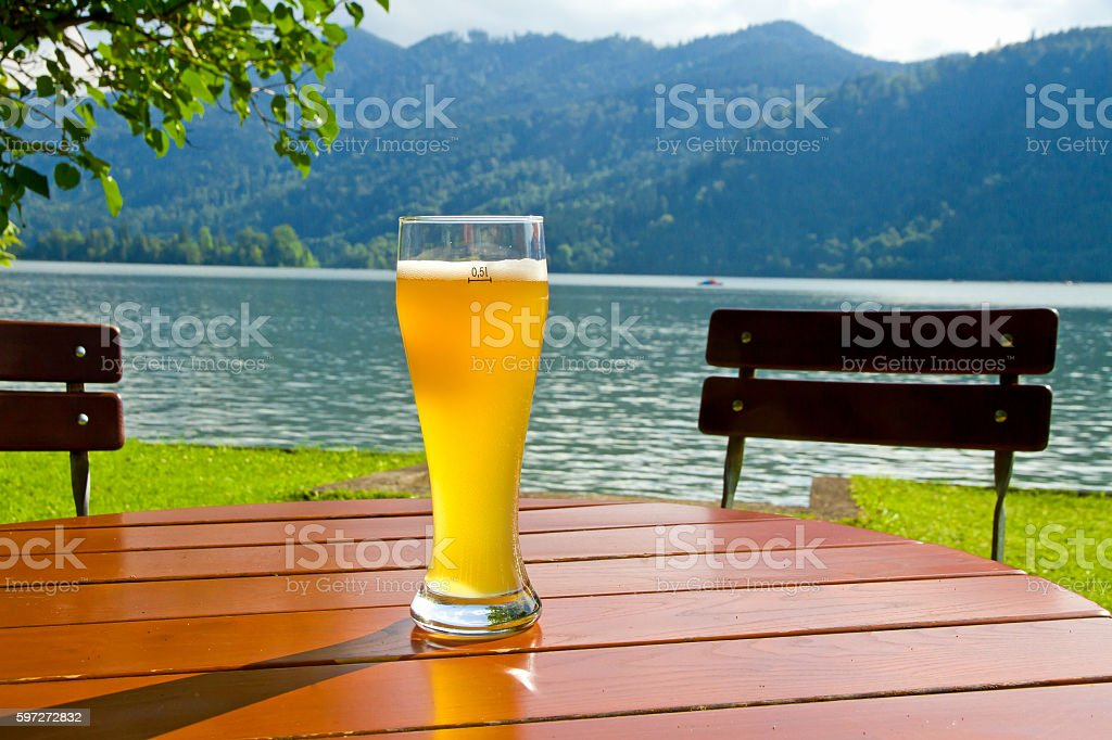 Glass with wheat beer on bavaria Lizenzfreies stock-foto