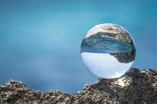 Glassball At Mediterranean Sea Stock Photo - Download Image Now