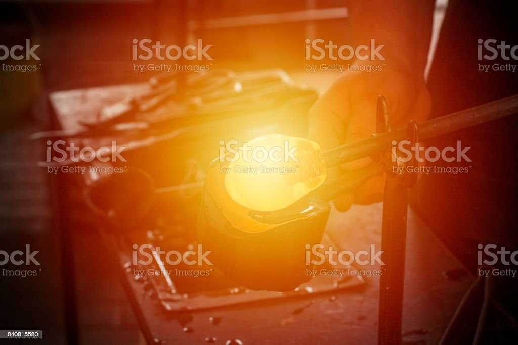 Glassblowing process background. stock photo