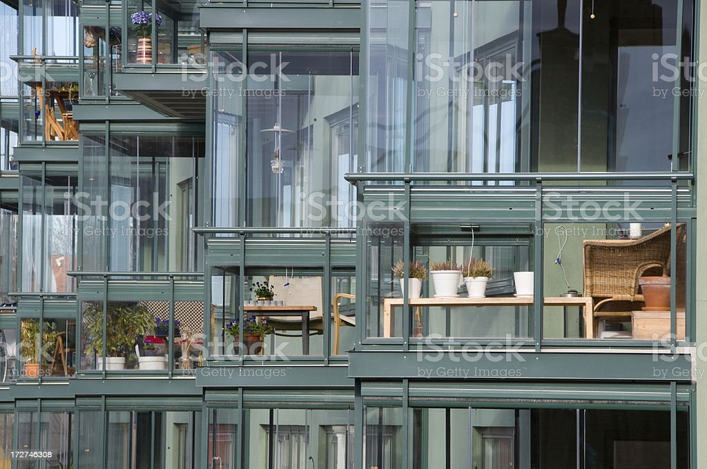 Glassed balconies stock photo