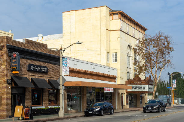 Glassell Street in Old Town Orange, California stock photo