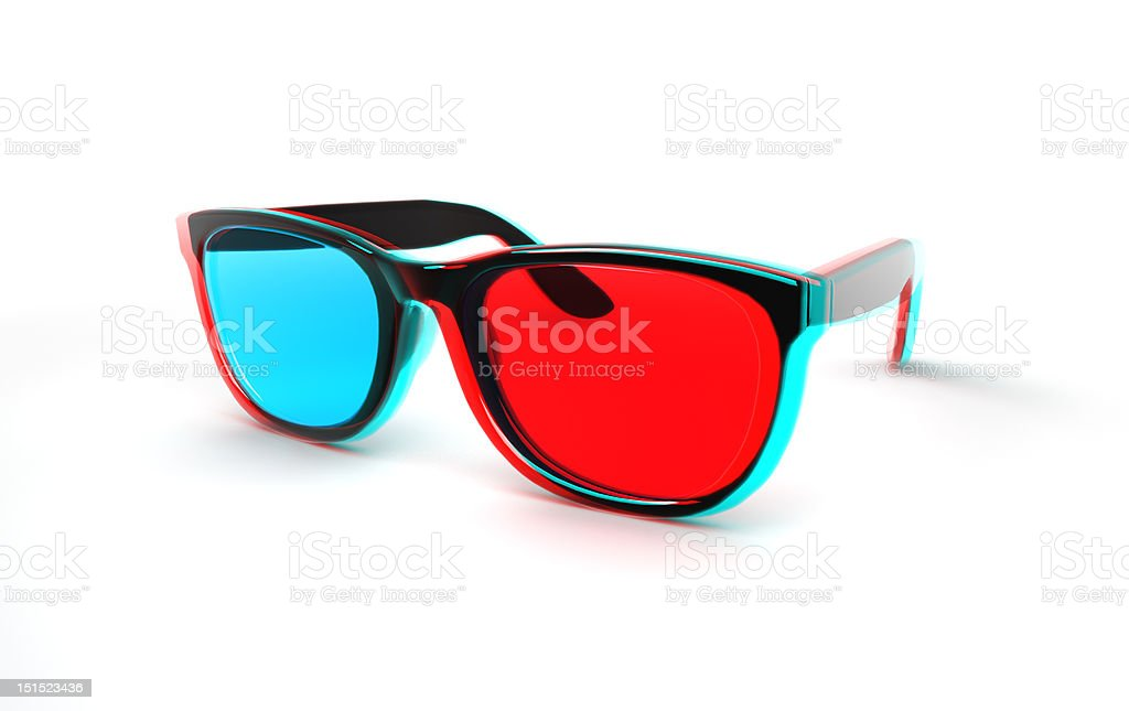 3D glasses anaglyph stock photo