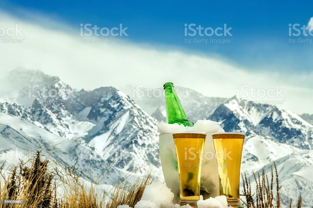 Glasses and bottle of fresh beer royalty-free stock photo
