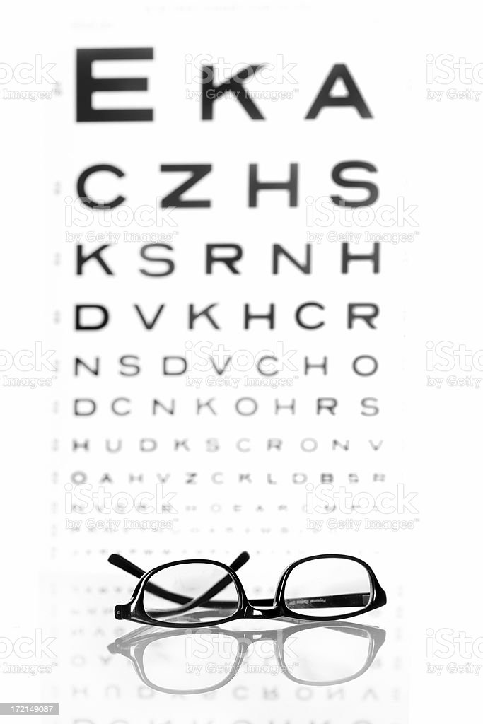Glasses and chart royalty-free stock photo