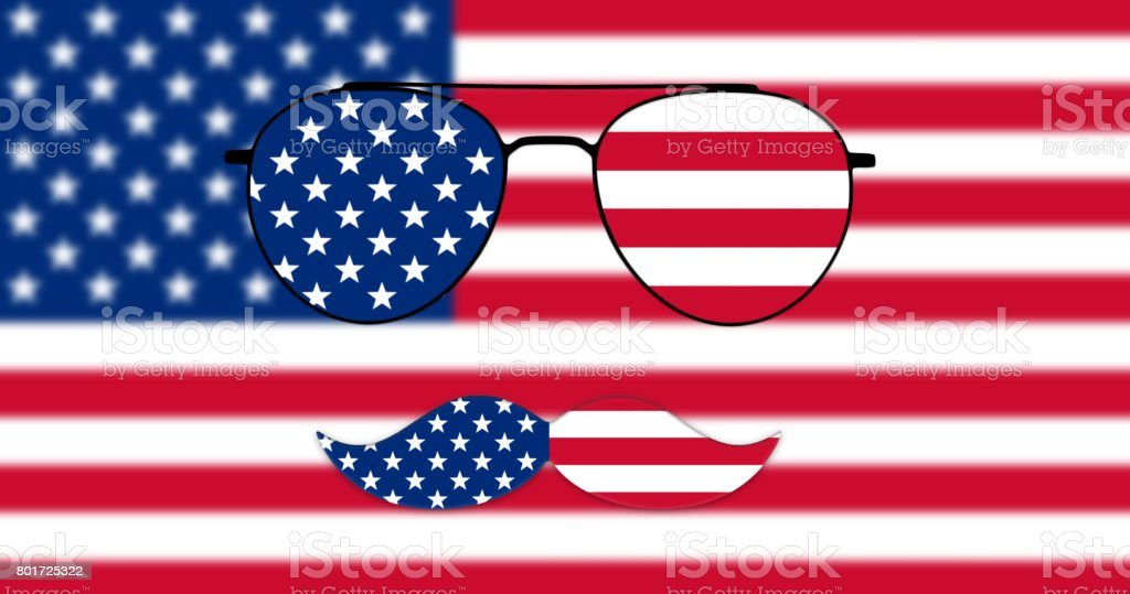Glasses and Mustache Design of the American Flag on USA flag backround Illustration stock photo