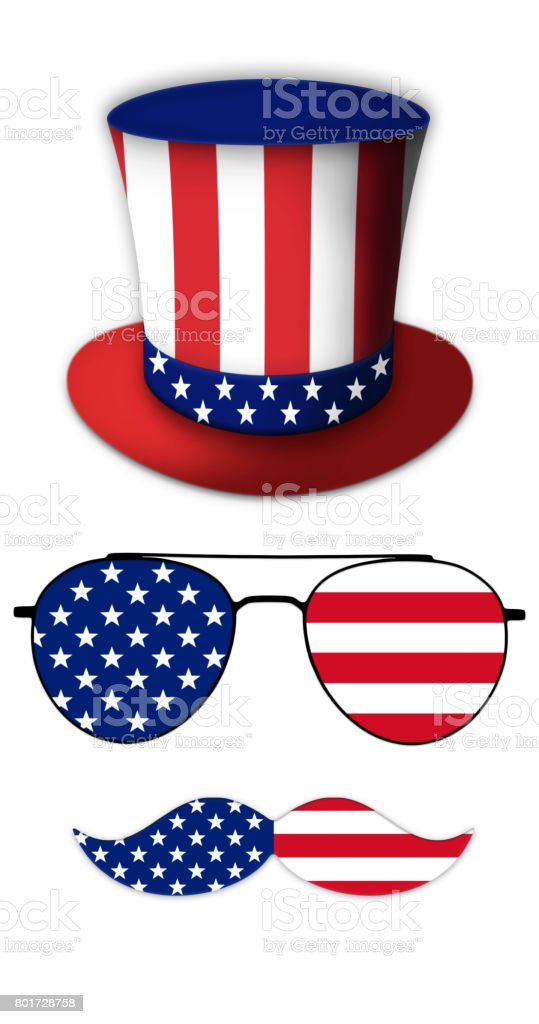 Glasses and Mustache Design of the American Flag With Hat of Uncle Sam Illustration stock photo