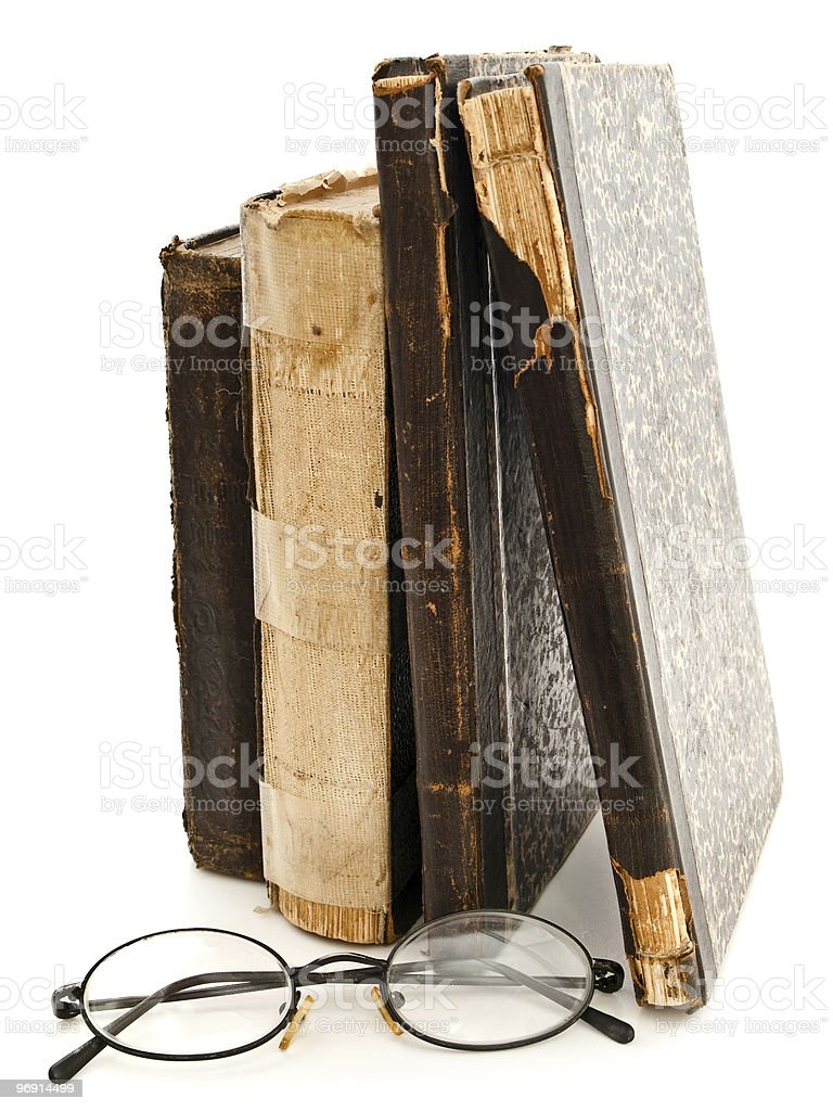 glasses and old books royalty-free stock photo