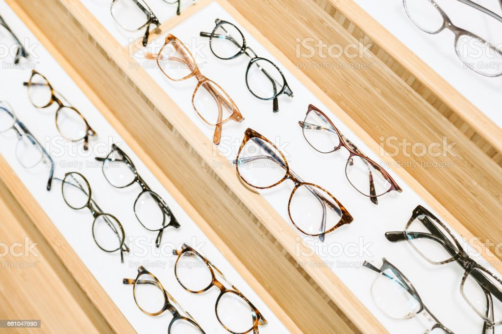 Glasses At Prescription Eyeglass Shop stock photo