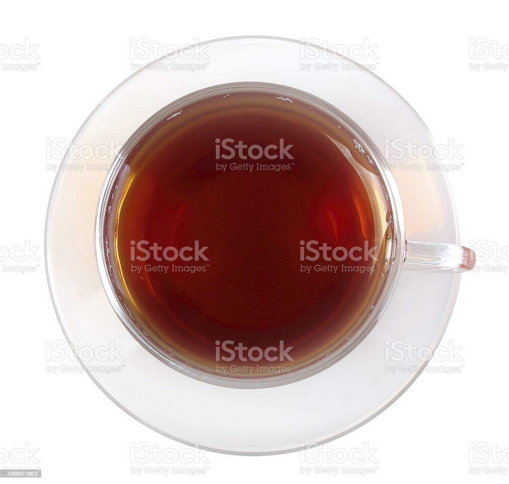 Glasses cup with black tea stock photo