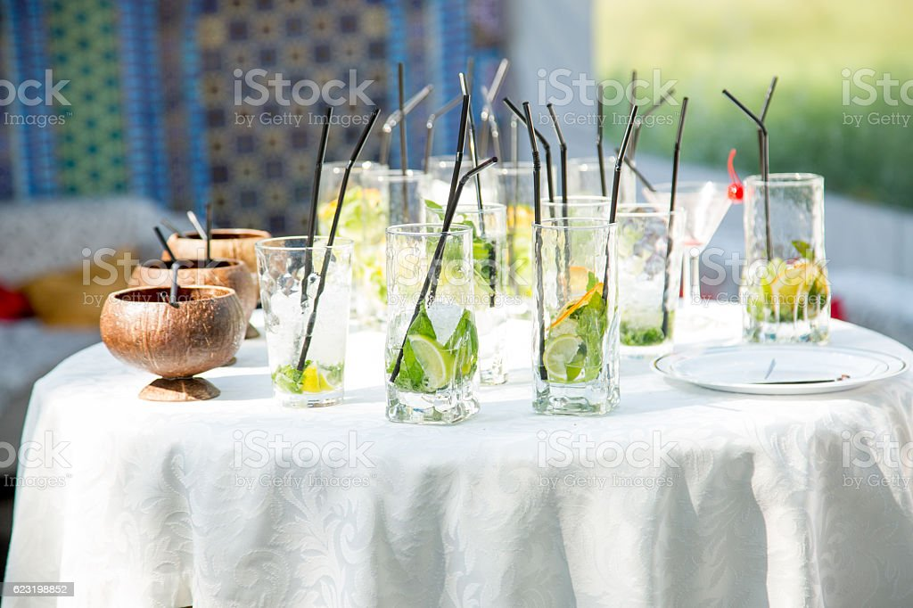 glasses for mojitos stock photo