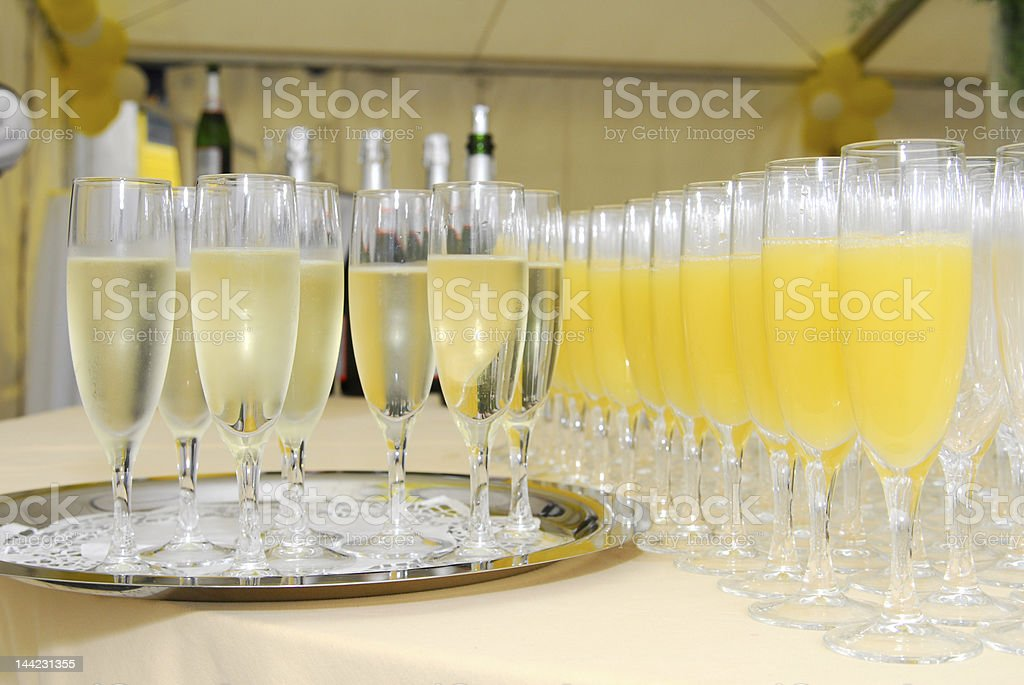 Glasses full of champagne and juice royalty-free stock photo