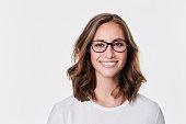 istock Glasses girl in white 1089633230