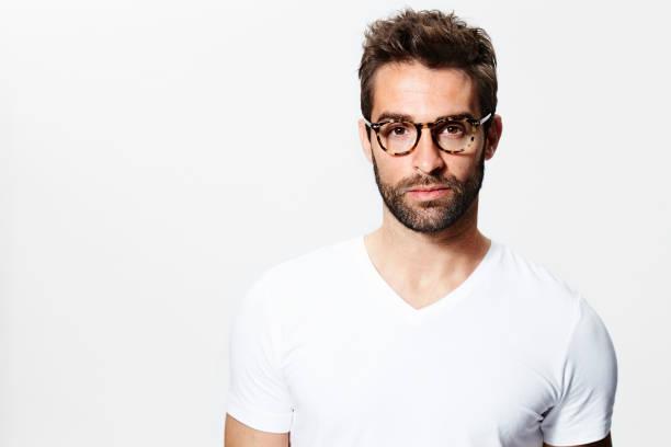 Glasses guy in white stock photo