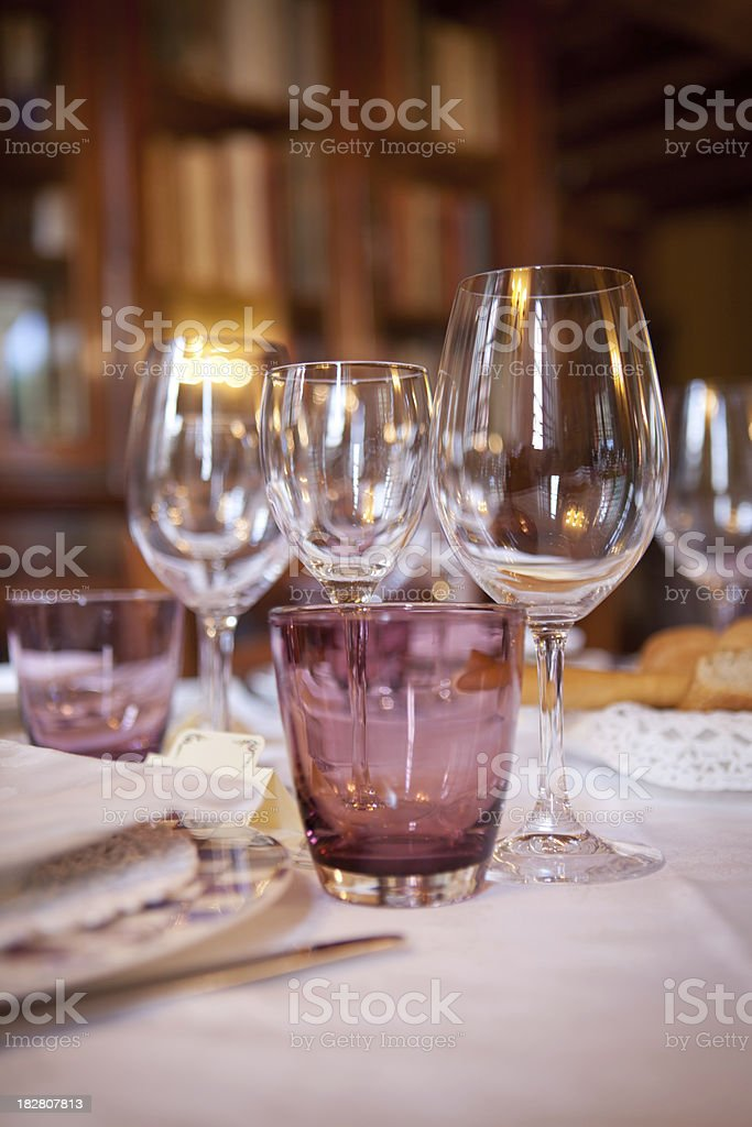 Glasses in a luxury table royalty-free stock photo