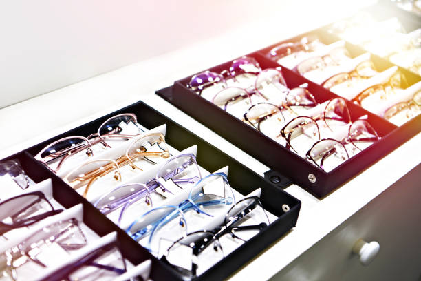 Glasses in store stock photo