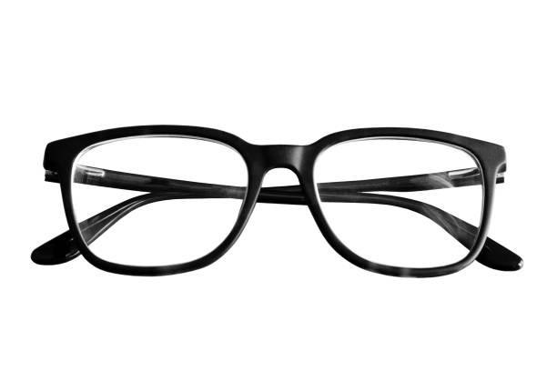 흰색 배경에 고립 된 안경 - 안경 뉴스 사진 이미지
