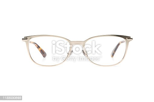 1047544590 istock photo glasses metal in round frame transparent for reading or good eye sight, front view isolated on white background 1133030593