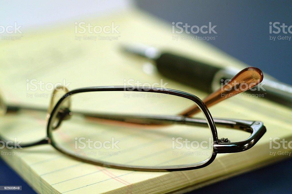 Glasses & Notepad royalty-free stock photo