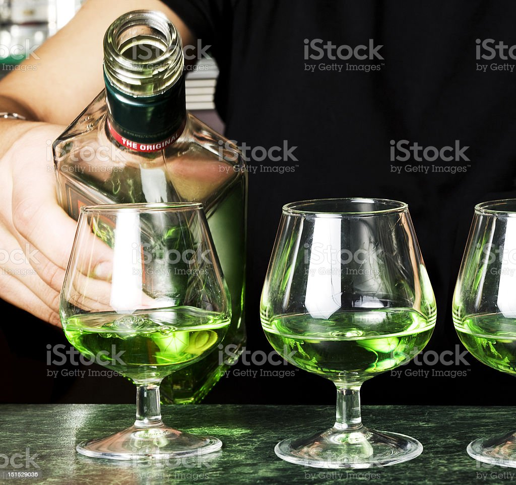 Glasses of absinthe stock photo
