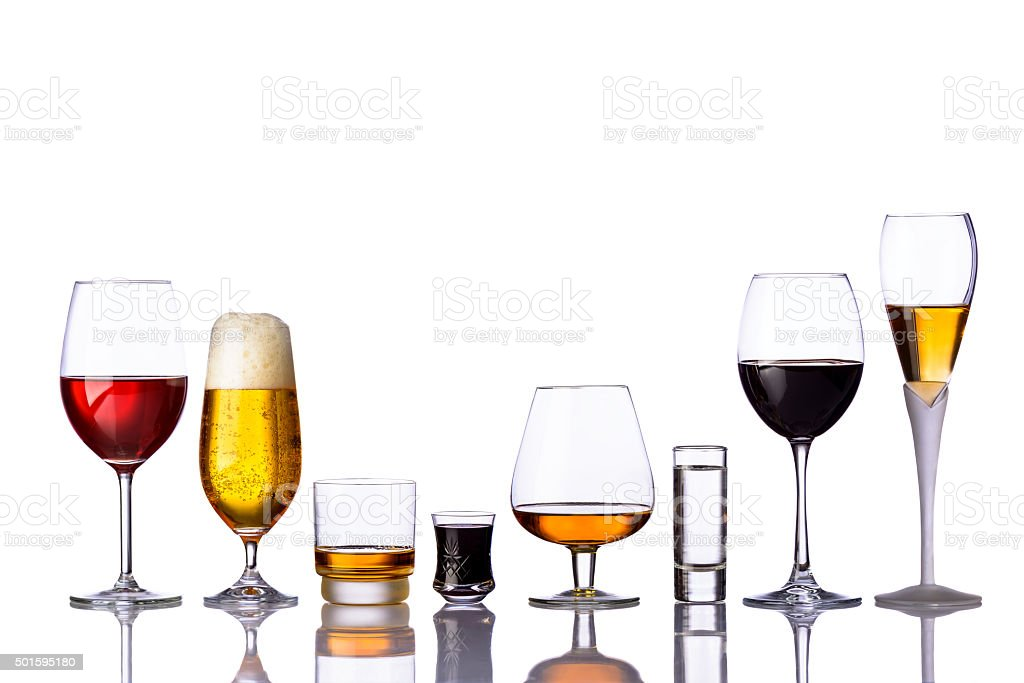 glasses of alcoholic drinks stock photo