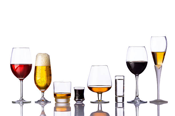 glasses of alcoholic drinks - beer alcohol stock pictures, royalty-free photos & images