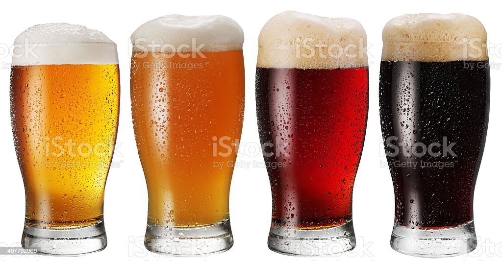 Glasses of beer. stock photo