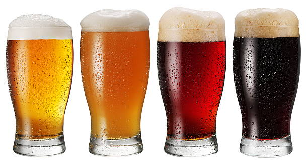 glasses of beer. - beer glass stock photos and pictures