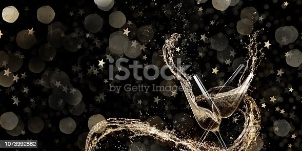 istock Glasses of champagne, celebration theme. 1073992882