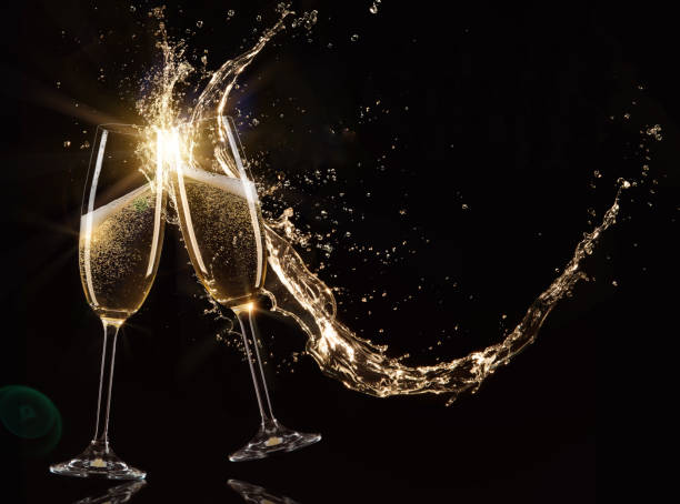 Glasses of champagne, celebration theme. stock photo
