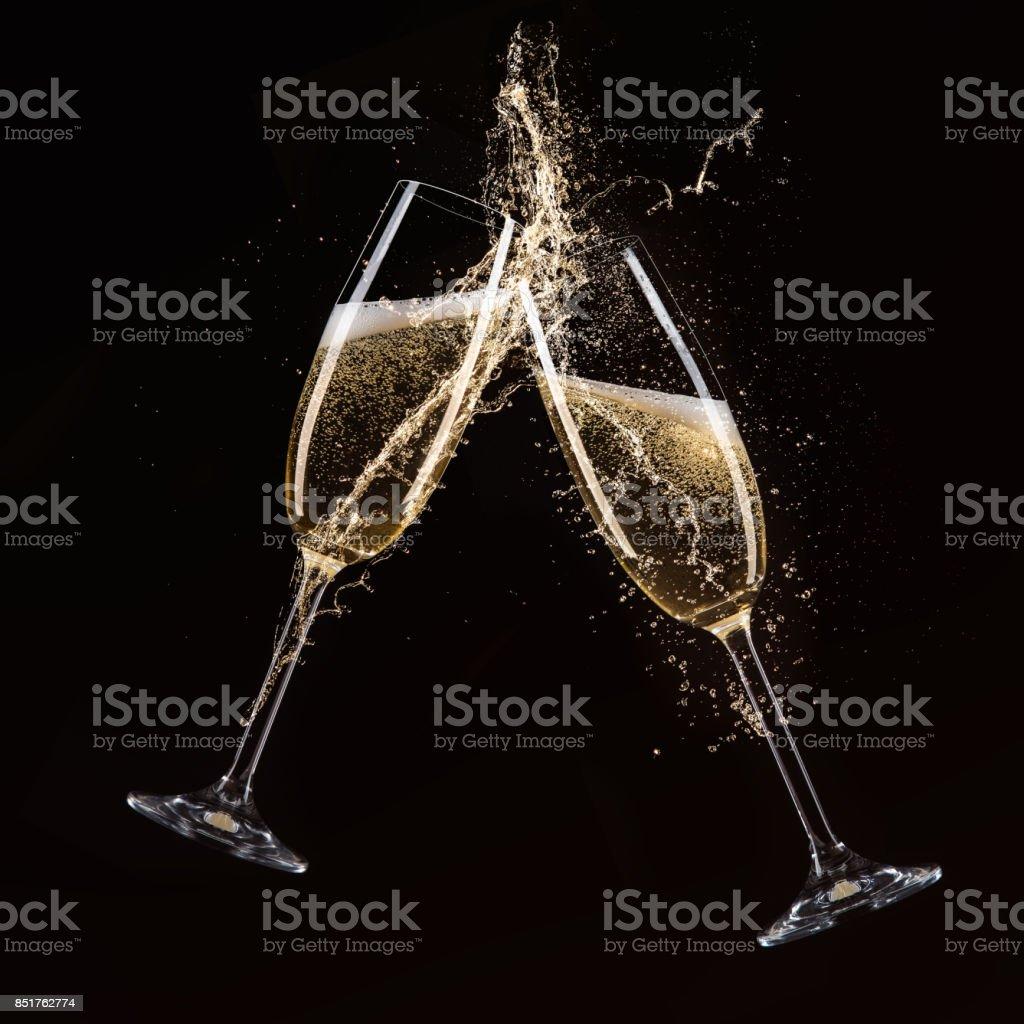 Copas de champagne, tema de celebración - foto de stock
