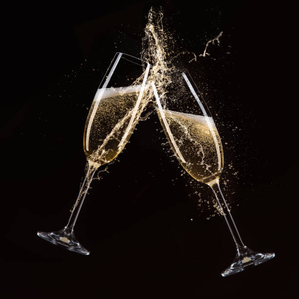 glasses of champagne, celebration theme - honour stock photos and pictures